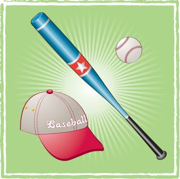 Baseball equipment on a green background