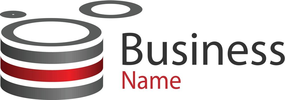Logo design, circle red and grey good logo for your business.