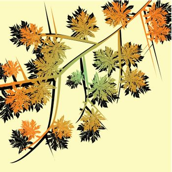 Foliage with late autumn leaves on a bright fresh yellow background
