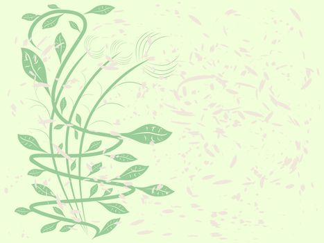 Curve green plant with abstract background