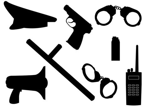 The weapon and equipment of police in a vector
