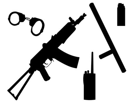 Equipment and arms of the policeman in a vector