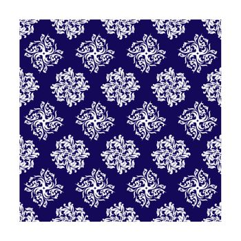 Royal blue and silver repeating design that seamlessly joins