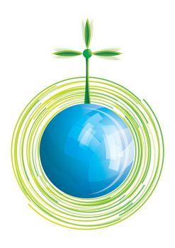 Environmental windmill on blue shiny globe, vector illustration