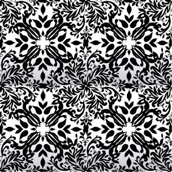 Silver and white floral inspired background with repeat design