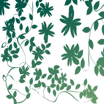 Foliage, background illustration with leaves and flowers