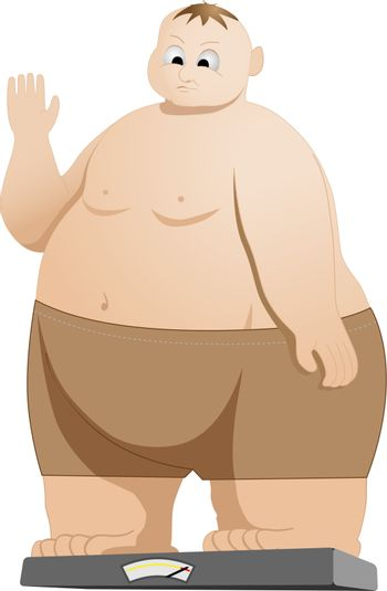 vector illustration of fat man weighing himself