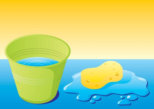 Green bucket with water and sponge with water splash