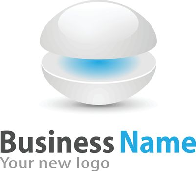 Logo 3d glossy sphere blue and white soft and stylish.