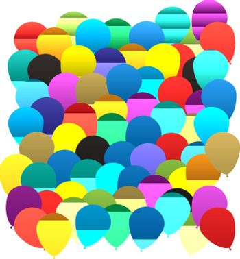 seamless repeating illustrated balloon background in various colors