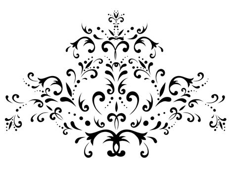 illustration of black floral abstract decoration