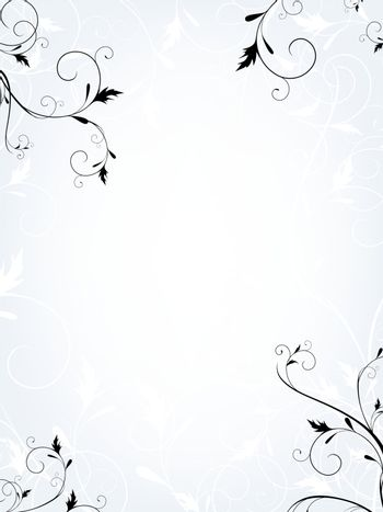 Vertical floral frame in quiet colors with copyspace for your text