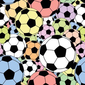 Editable vector seamless tile of colorful footballs