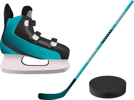 vector hockey equipment on white background