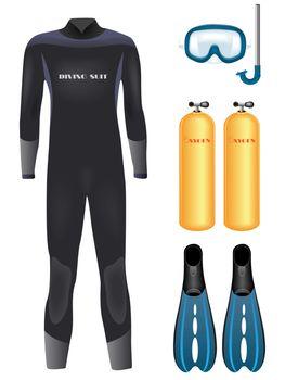 Set of diving equipment over white. Vector illustration