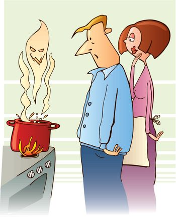 vector illustration of surprised family and boiling toxic soup