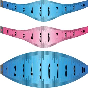 Set of measuring tape elements in different colors.