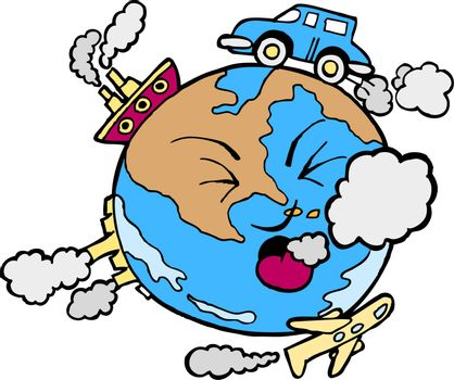 Cartoon image of global pollution.
