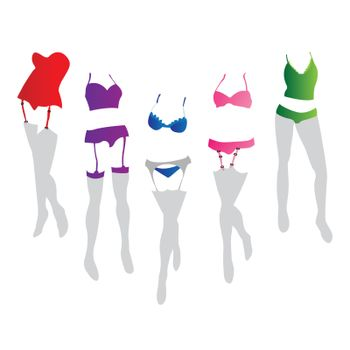 Collection of women lingerie in colors