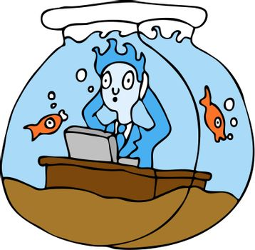An image of a employee working in a fish bowl.