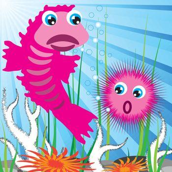 sea scape bottom with fish and sea-urchin