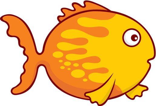 Surprised yellow and orange goldfish cartoon illustration isolated on white background.