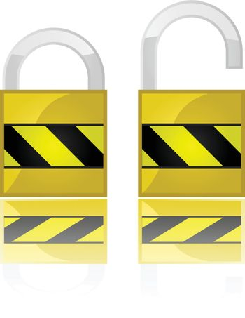 Glossy illustration showing two padlocks, one open and one closed
