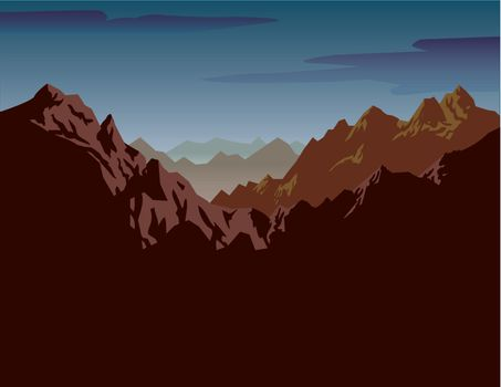 A jagged mountain range landscape with blue horizon. Overcast shadow can be used for notes or sign. Linear gradients are included. Created from an original drawing. Vector file items are grouped and layered for easy editing.