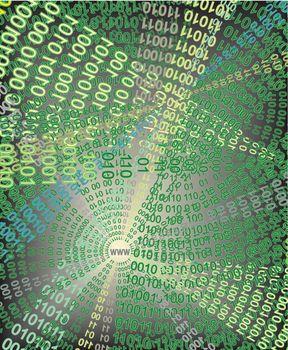 Graphic depicting binary data escaping through vector