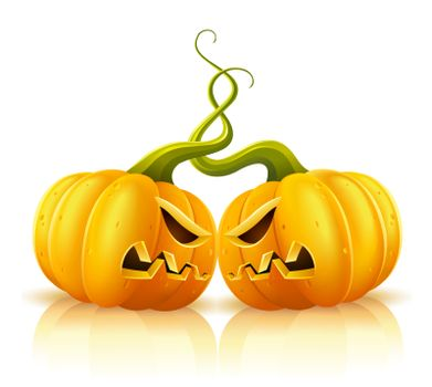 two aggressive halloween pumpkins in skirmish vector illustration, isolated on white background