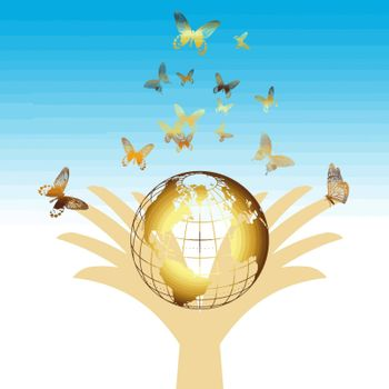 environmental concept with golden earth and butterfly