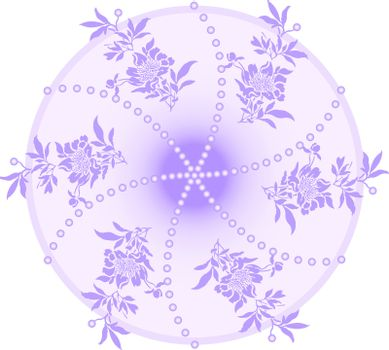 lilac round emblem with floral sprigs inside