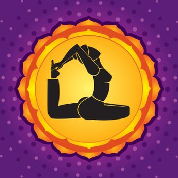 Woman standing in yoga pose against violet background