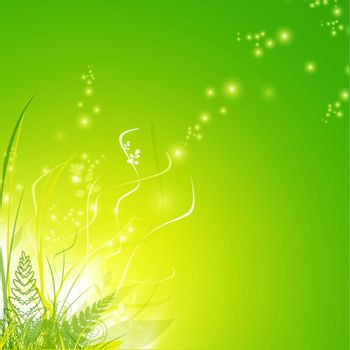 green grass and fern over magic floral decoration, copyspace