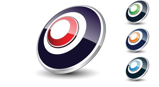 Logo 3d ellipse, glossy with metallic element