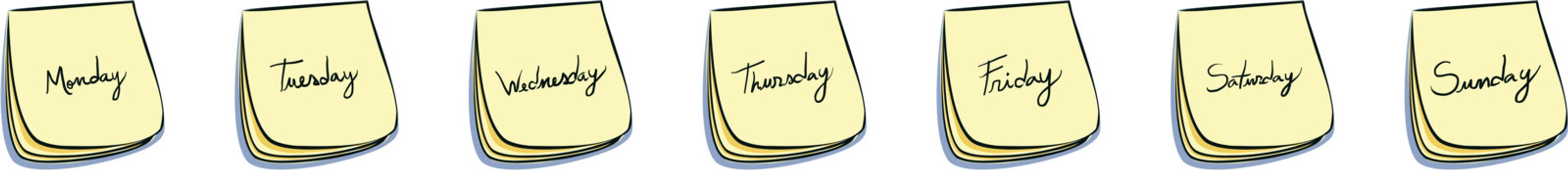Daily Post-It Notes With Handwritten Days (Monday Through Sunday)