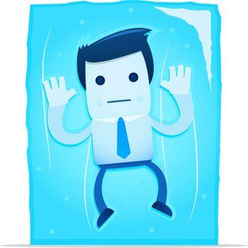 illustration of cartoon office worker in a frozen block of ice