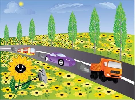 natural air purification filters - poplar and sunflower on motorways