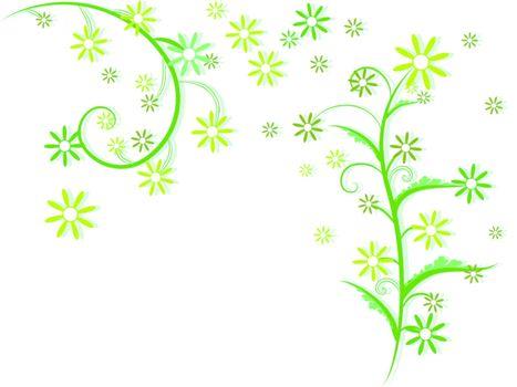 flowers foliage, abstract vector art illustration