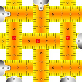 measuring tapes mesh against white background, abstract vector art illustration