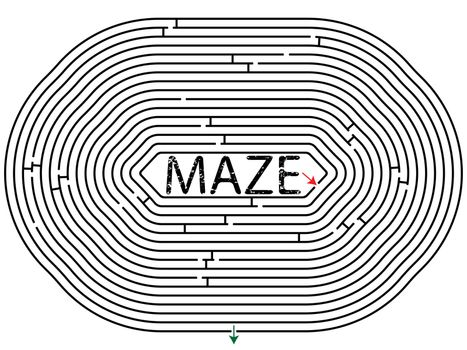 rounded maze against white background, abstract vector art illustration