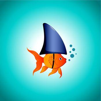 A cute little goldfish wearing a shark fin to scare predators away. Editable vector illustration.