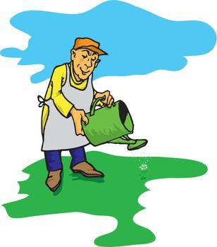 Figure male gardener who waters the green lawn.