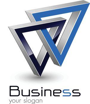 Logo design, two united triangle, vector.