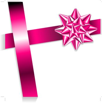 Pink bow on a pink ribbon with white background - vector Christmas card