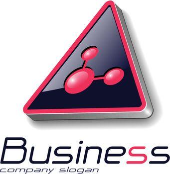 Logo 3d  triangle with atom symbol, vector illustration.
