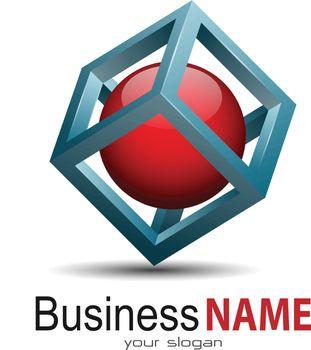 Vector business logo, 3d modern design.