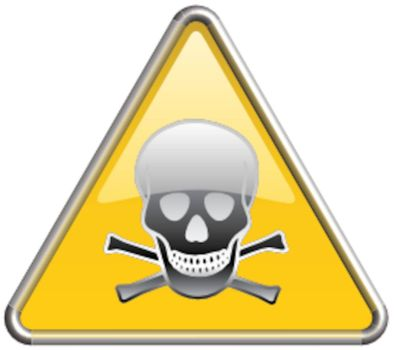Toxic symbol / icon in yellow 3D triangle
