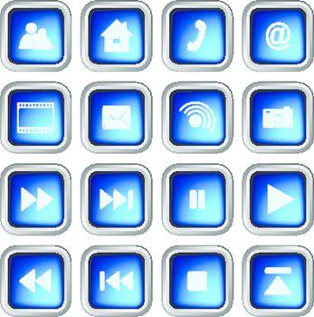 Set of Blue Modern 3D Square Web Icons