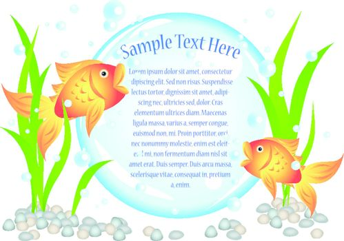 Fun cartoon goldfish advertisement illustration with room for your text in the big bubble: perfect for seafood restaurant, menu, birthday invitation etc.